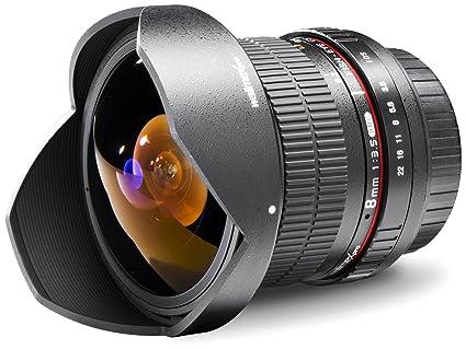 Walimex Pro 8mm 1: 3.5 Fisheye SCC II (parasoleil amovible, SI) pour Pentax Q  noir