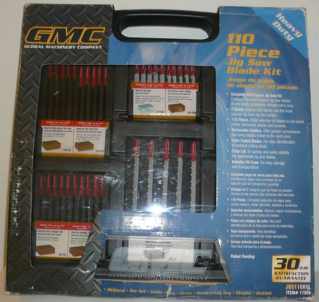 GMC 110 Piece Jig Saw Blade Kit -Model Jbs110kul 96pcs 130mm scroll saw blade 12 lots jig cutting wood metal spiral teeth 1 8 12pcs lots 8 96pcs