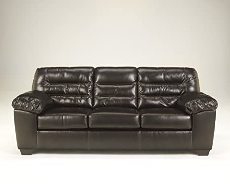 Seales Chocolate Finish Faux Leather Upholstered Contemporary Design Sofa Couch