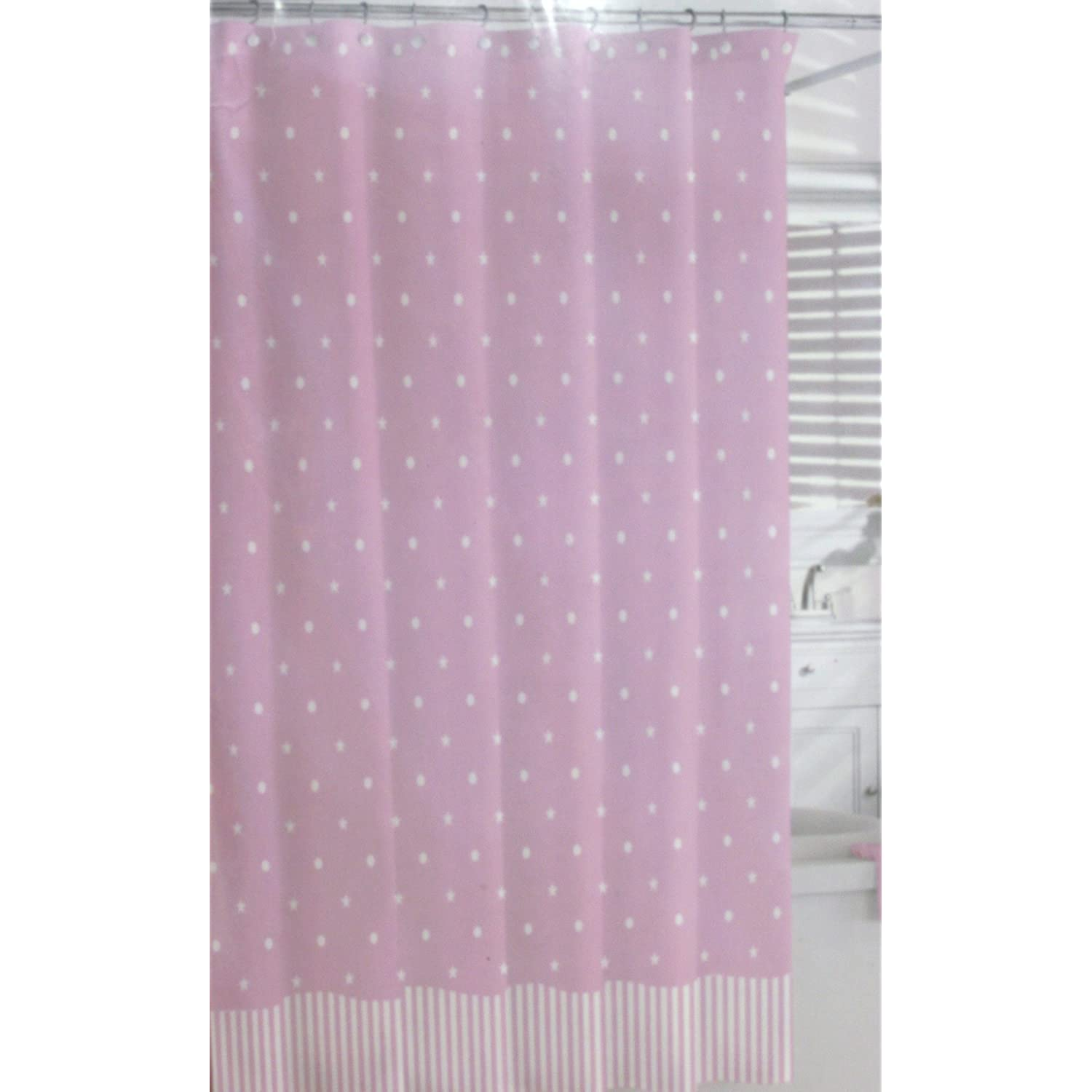 White polka dots and stars on pink Shower curtain