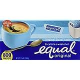 EQUAL 0 Calorie Sweetener, Sugar Substitute, Zero Calorie Sugar Alternative Sweetener Packets, Sugar Alternative, 800 Count