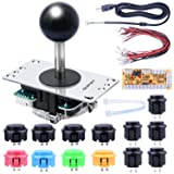 Quimat Updated Version Arcade Game DIY Parts Kit, Zero Delay USB Encoder 8way/4way Joystick and 13 Function Buttons for PC and Raspberry Pi QR11-B