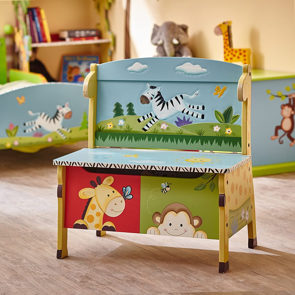 Animals Thematic Kids Storage Bench