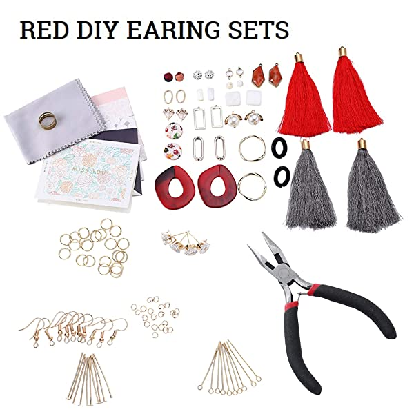 Premium Jewelry Findings Set Jewelry Making Supplies Kit Jewelry Findings Starter Kit Jewelry Beading Making and Repair Tools Kit Pliers Beads Wire Starter Tool (Color: Red series)