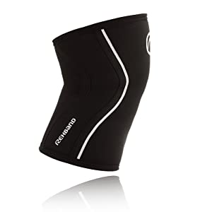 Rehband Rx Knee Support 5mm - Large - Black - Expand Your Movement + Cross Training Potential - Knee Sleeve for Fitness - Feel Stronger + More Secure - Relieve Strain - 1 Sleeve (Color: Black, Tamaño: Large)