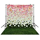 Funnytree 5x7ft Photography Backdrop Blossom Flowers Wall Lawn Interior Grass Wedding Background Props photocall photobooth Photo Studio (Color: Style2, Tamaño: 5ft by 7ft)