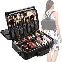 VASKER VA-01 3 Layers Makeup Bag with Brush Holder and Adjustable Divider (Black)