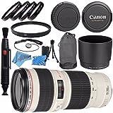 Canon EF 70-200mm f/4L USM Lens 2578A002 + 67mm Macro Close Up Kit + 67mm UV Filter + Lens Cleaning Kit + Lens Pen Cleaner + Fibercloth Bundle