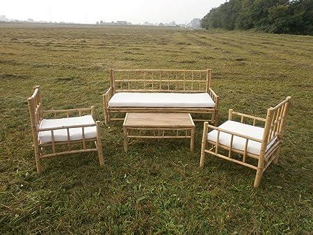 Bambú Muebles de Jardín Jardín Conjunto de muebles de balcón Balcón Conjunto de asiento de madera muebles exterior de asiento Grupo