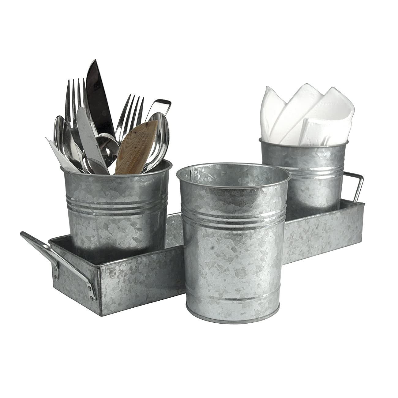 Oasis Picnic Caddy & Planter Set, Galvanized 1