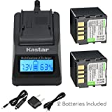 Kastar Fast Charger + Battery 2x for JVC BN-VF714 GR-D250 GR-D270 GR-D290 GR-D390 GR-D450 GR-D650 GR-DF450 GR-DF570 GR-DF590 GR-X5 GZ-D240 GZ-DF240 GZ-DF470 GZ-MG39 GZ-MG40 GZ-MG60 GZ-MG70 GZ-MG500 (Tamaño: 1 LCD fast charger + 2 batteries)