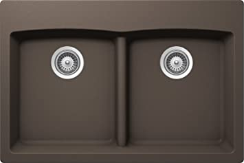 SCHOCK EDON200T063 EDO Series CRISTALITE 50/50 Topmount Double Bowl Kitchen Sink, Mocha