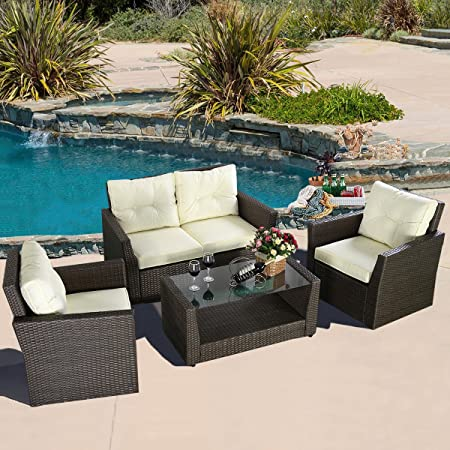 4PC Rattan Sofa Furniture Set Patio Garden Lawn Cushioned Seat Brown Wicker New