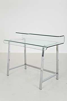 KARE Design Visible Clear Office Table, Plastic, Silver, 110 x 56 cm