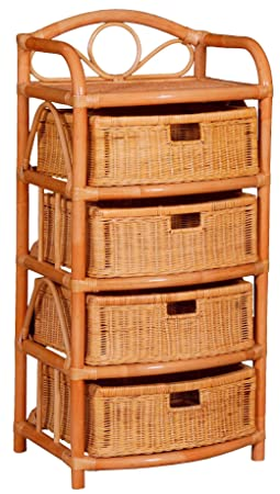 Regal mit 4 Schuben aus Natur-Rattan in Terracotta, Kommode/Korbregal 53x43x109