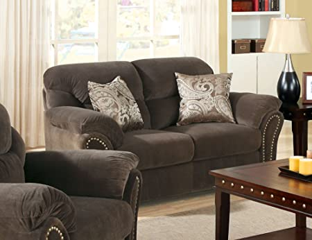 Furniture of America Frandior Flannelette Fabric Upholstered Loveseat, Chocolate Finish