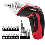 Hi-Spec 3.6V Cordless 1300 mAh Lithium-Ion Battery Screwdriver & 26pc Screwdriver Bit and Wood Drill Bit Set (Color: A. 26 Piece Screwdriver)