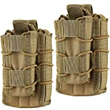Hoanan Double Mag Pouch, Tactical Molle Magazine Pouch Open-Top Single Rifle Pistol Mag Pouch Cartridge Clip Pouch Hunting Bag (2pack-Upgrade Brown) (Color: 2pack-Upgrade brown)