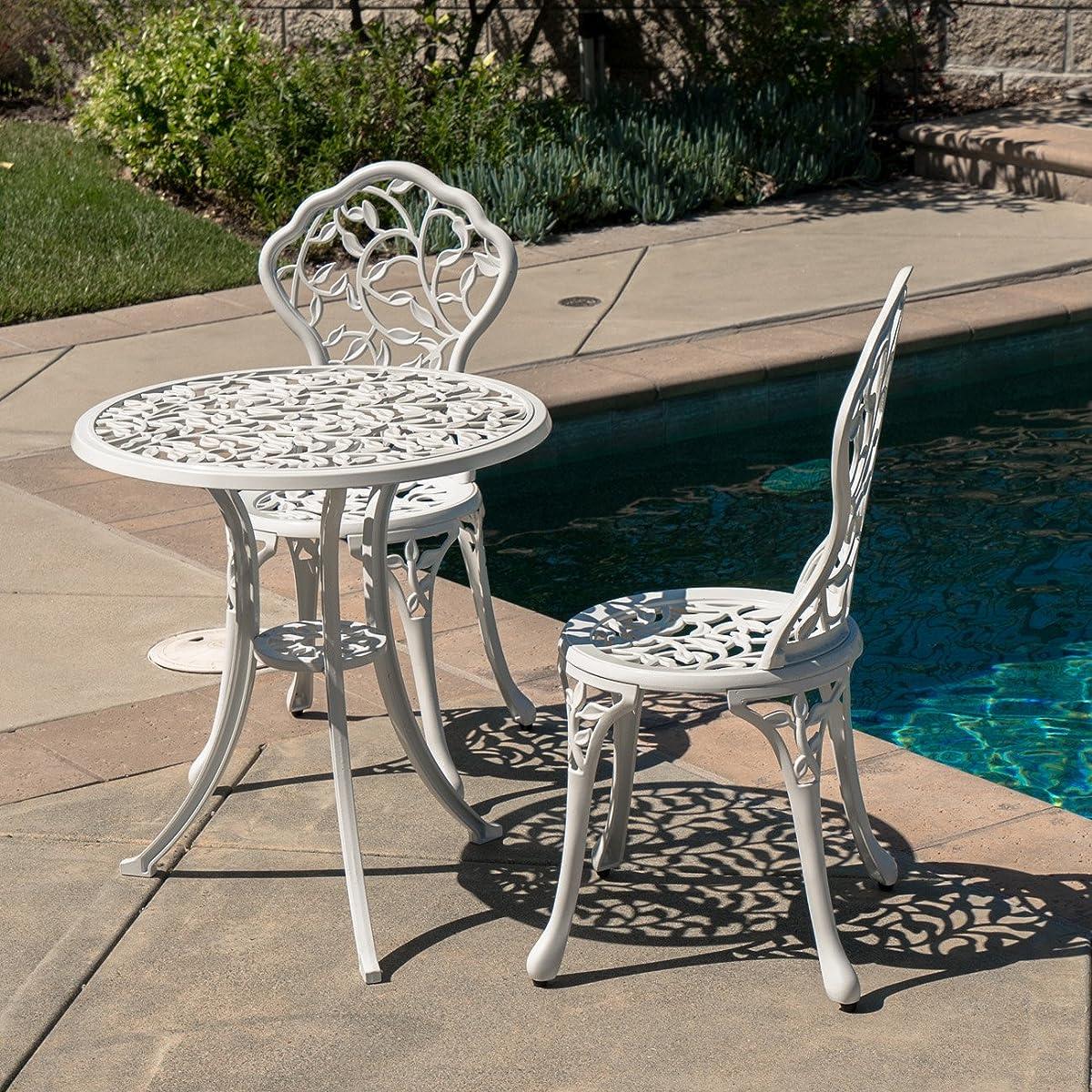 Belleze Outdoor Patio Cast Aluminum Leaf Design Bistro Set in Antique White
