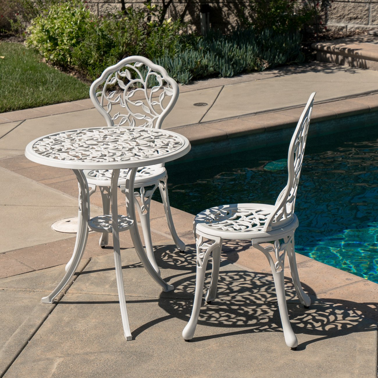 Belleze Outdoor Patio Furniture Leaf Design Bistro Set in Antique White 2