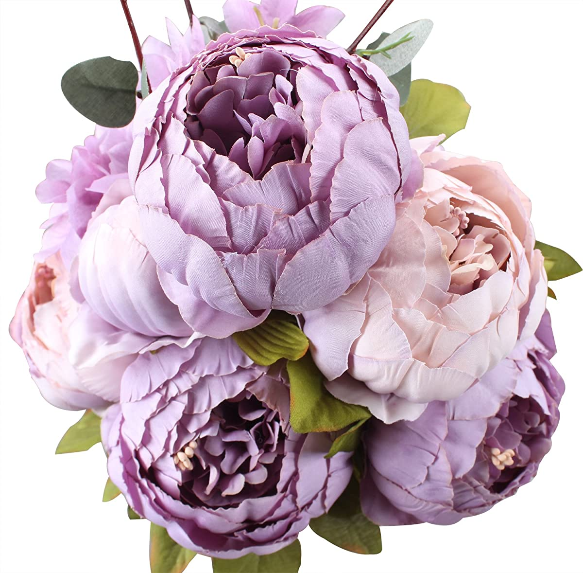Duovlo Fake Flowers Vintage Artificial Peony Silk Flowers Wedding Home Decoration,Pack of 1 (New Purple)