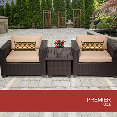 Premier 3 Piece Outdoor Wicker Patio Furniture Set 03A 2 Yr Fade Warranty