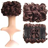 SWACC Short Messy Curly Dish Hair Bun Extension Easy Stretch hair Combs Clip in Ponytail Extension Scrunchie Chignon Tray Ponytail Hairpieces (Dark Auburn-33#) (Color: Dark Auburn-33#)