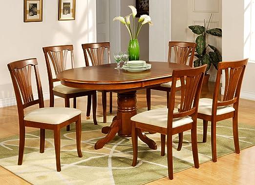 East West Furniture AVON5-SBR-C 5-Piece Dining Table Set, Saddle Brown Finish