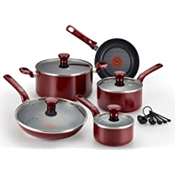 T-fal C912SE 14-Piece Excite Nonstick Cookware Set (Red)
