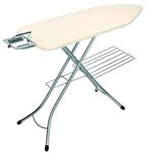 Brabantia Ironing Board with Steam Iron Rest and Linen Rack, Size C, 124 x 45cm, 25mm Chrome Painted Frame, Ecru Cover       reviews and more information