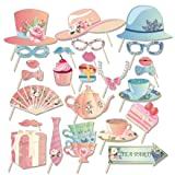 Kristin Paradise 25Pcs Tea Time Photo Booth Props with Stick, Floral Tea Ceremony Theme Selfie Props, Birthday Party Supplies, Photography Backdrop Decorations for Photobooth (Color: Tea Photo Booth Propss)