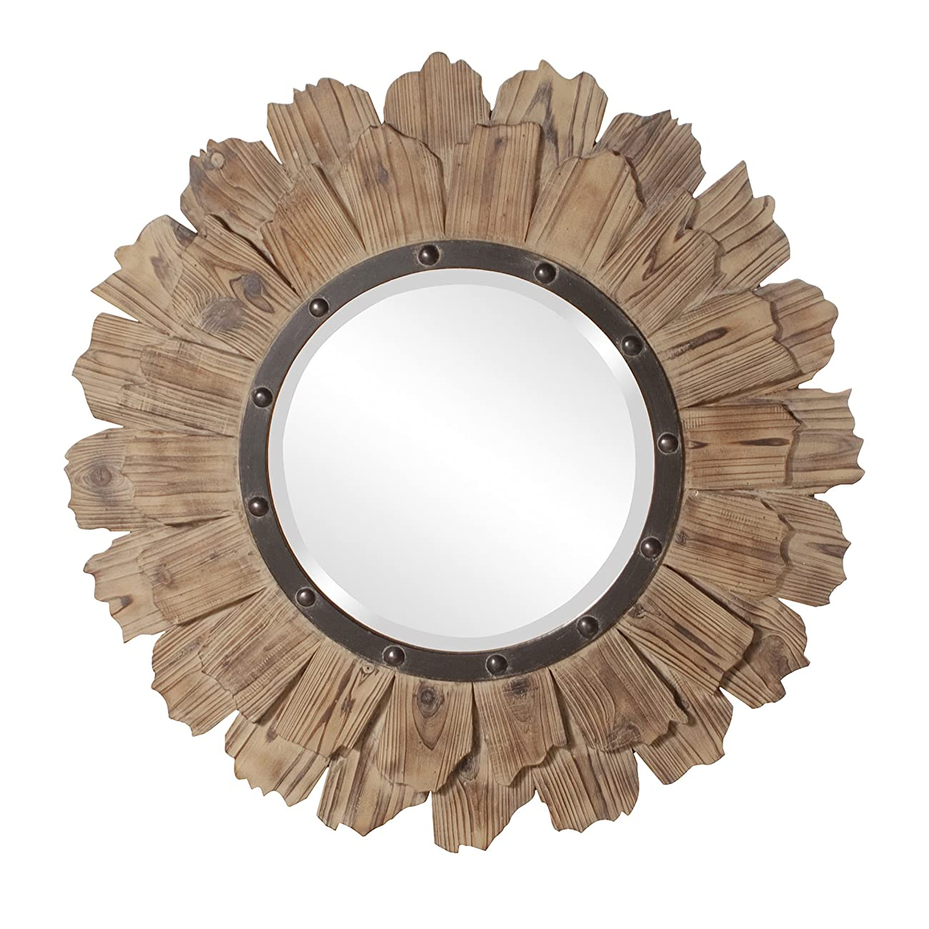 Howard Elliott 37075 Hawthorne Round Mirror, 35-Inch, Layered Natural Wood 0