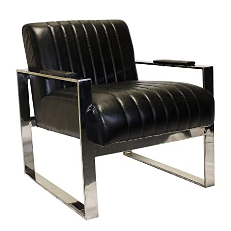 Gallery Direct Torino Armchair Leather, 23.5 x 29 x 27.5-inch, Black