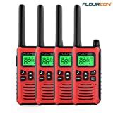 FLOUREON Walkie Talkies for Adults 4 Pack Long Range Two Way Radio 22 Channel 3000M (MAX 5000M Open Field) USB Cable Charging Walkie Talkies for Outdoor Adventures Camping Hiking(Red) (Color: Red)