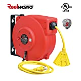 ReelWorks CR605131S3A Heavy Duty Extension Cord Reel, 12AWG/3C SJT, Triple Tap, 40'