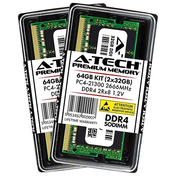 A-Tech 64GB DDR4 2666MHz Laptop Memory Kit (2 x 32GB) PC4-21300 Non-ECC Unbuffered SODIMM 260-Pin 2Rx8 1.2V Dual Rank Notebook Computer RAM Upgrade Sticks (AT32G2D4S2666ND812V) (Tamaño: 64GB Kit (2 x 32GB))