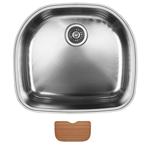 Ukinox D537.10.C Modern Undermount Single Bowl Stainless Steel Kitchen Sink with Cutting Board