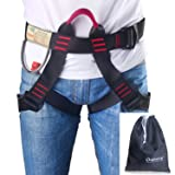 Oumers Climbing Harness, Safe Seat Belts For Mountaineering Outward Band Fire Rescue Working on the Higher Level Caving Rock Climbing Rappelling Equip, Women Man Child Half Body Guide Harness (Color: climbing harness)