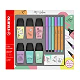 Stabilo Boss Mini Highlighter Pen Set of 6 °F49716 pastellove with 3 Coloured Sign Pens 3 Pens Pen 68 Mini Point 88 Mini with 12 Stickers