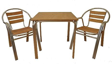 Eurosilla Base de table aluminium anodisé, bois, marron, 70x 70x 75cm