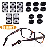 MOLDERP Silicone Eyeglasses Temple Tips Sleeve Retainer,Anti-Slip Round Comfort Glasses Retainers For Spectacle Sunglasses Reading Glasses Eyewear,10 pairs (Color: black 10)