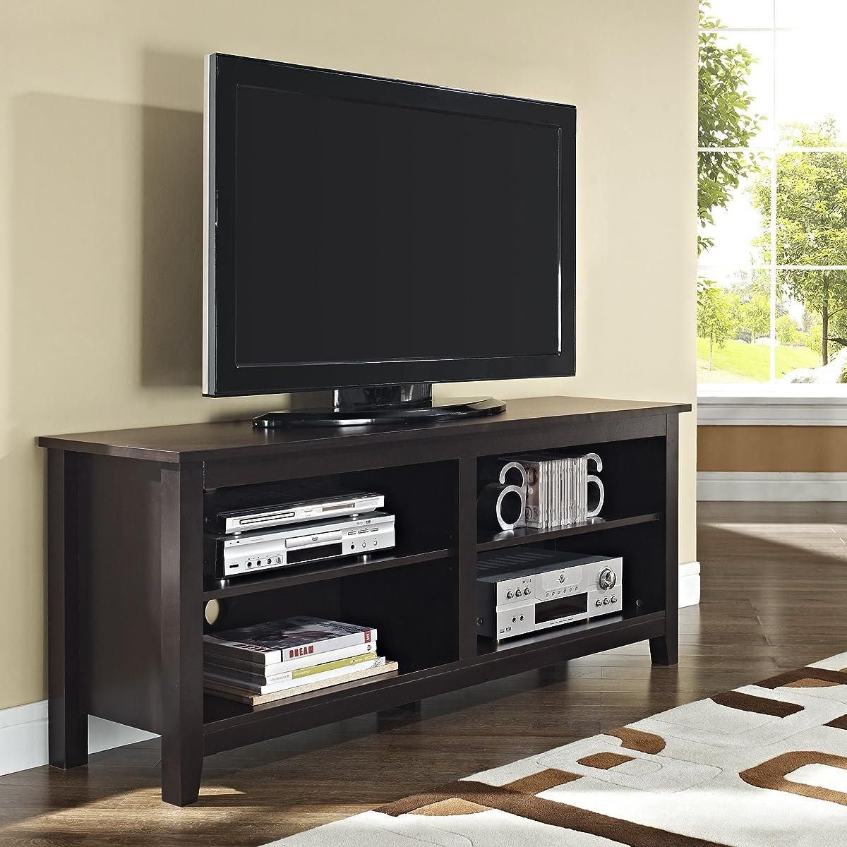 "WE Furniture 58"" Wood TV Stand Storage Console, Espresso"
