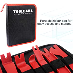 TOOLBABA 19 pcs Trim Removal Tool Set , Car Panel Removal Tool, Auto Trim Removal Tool Kit with Storage Bag