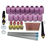 46pcs TIG Gas Lens and 2 Percent Lanthanated Tungsten Electrode Rod Kit for QQ300 PTA DB SR CK WP 17 18 26 TIG welding torch (Color: Gold, Tamaño: Full Size)