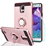 Note 4 case Galaxy Note 4 Case with HD Screen Protector,Ymhxcy 360 Degree Rotating Ring & Bracket Rubber Dual Layer Shock Bumper Resistant Back Cover for Samsung Galaxy Note 4-ZH Rose Gold (Color: ZH-Rose Gold)