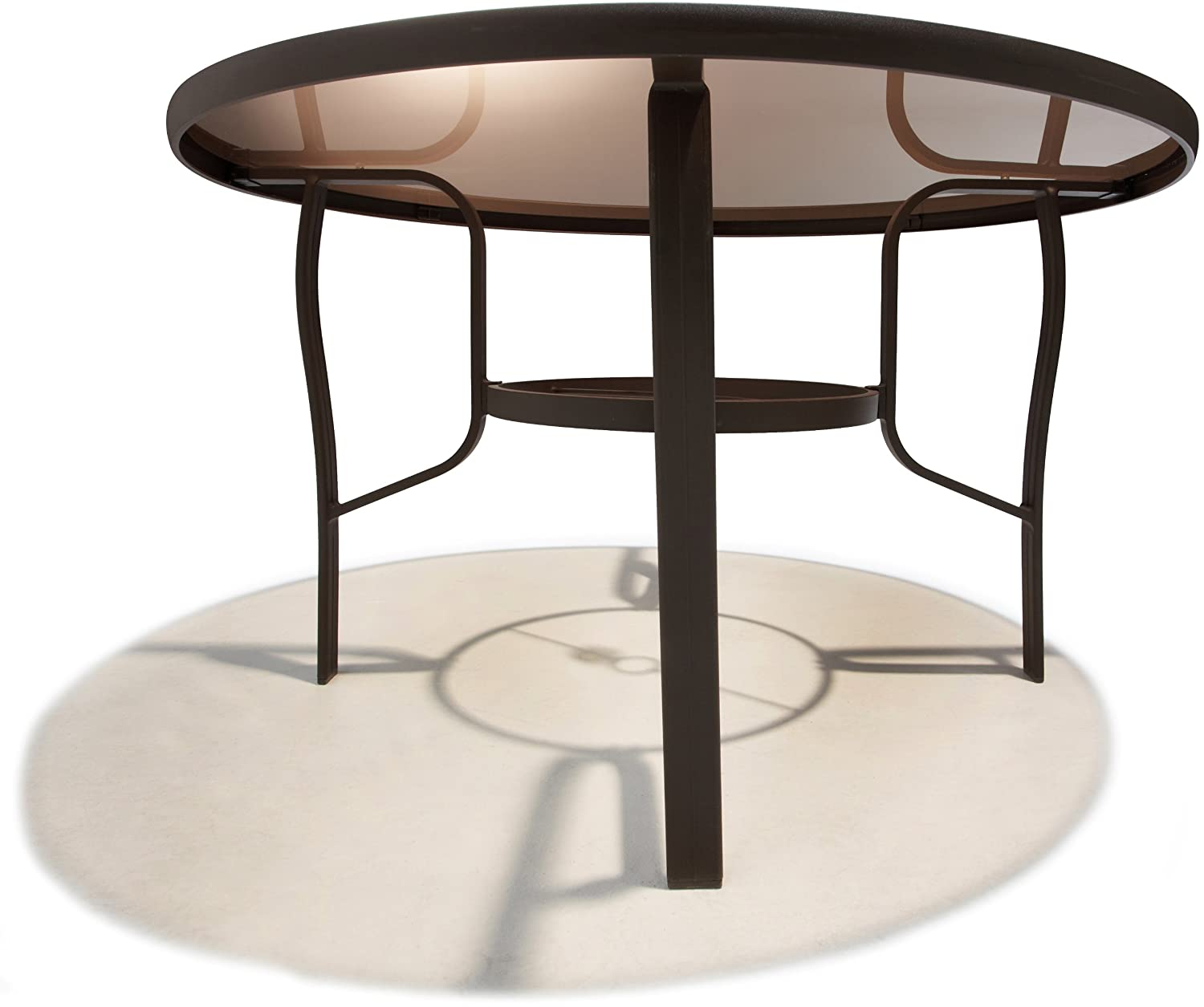 48in round dining table outdoor umbrella hole aluminum tempered glass top brown ebay. Black Bedroom Furniture Sets. Home Design Ideas