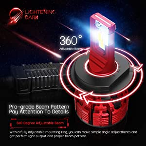 16000 Lumens Extremely Bright Nucleus Pro Conversion Kit LIGHTENING DARK H4 9003 led headlight bulb Adjustable Beam 6500K Cool White