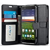 Alcatel Idol 4 Case, J&D [Wallet Stand] [Slim Fit] Heavy Duty Protective Shock Resistant Flip Wallet Case for Alcatel Idol 4 - Black (Color: Black)