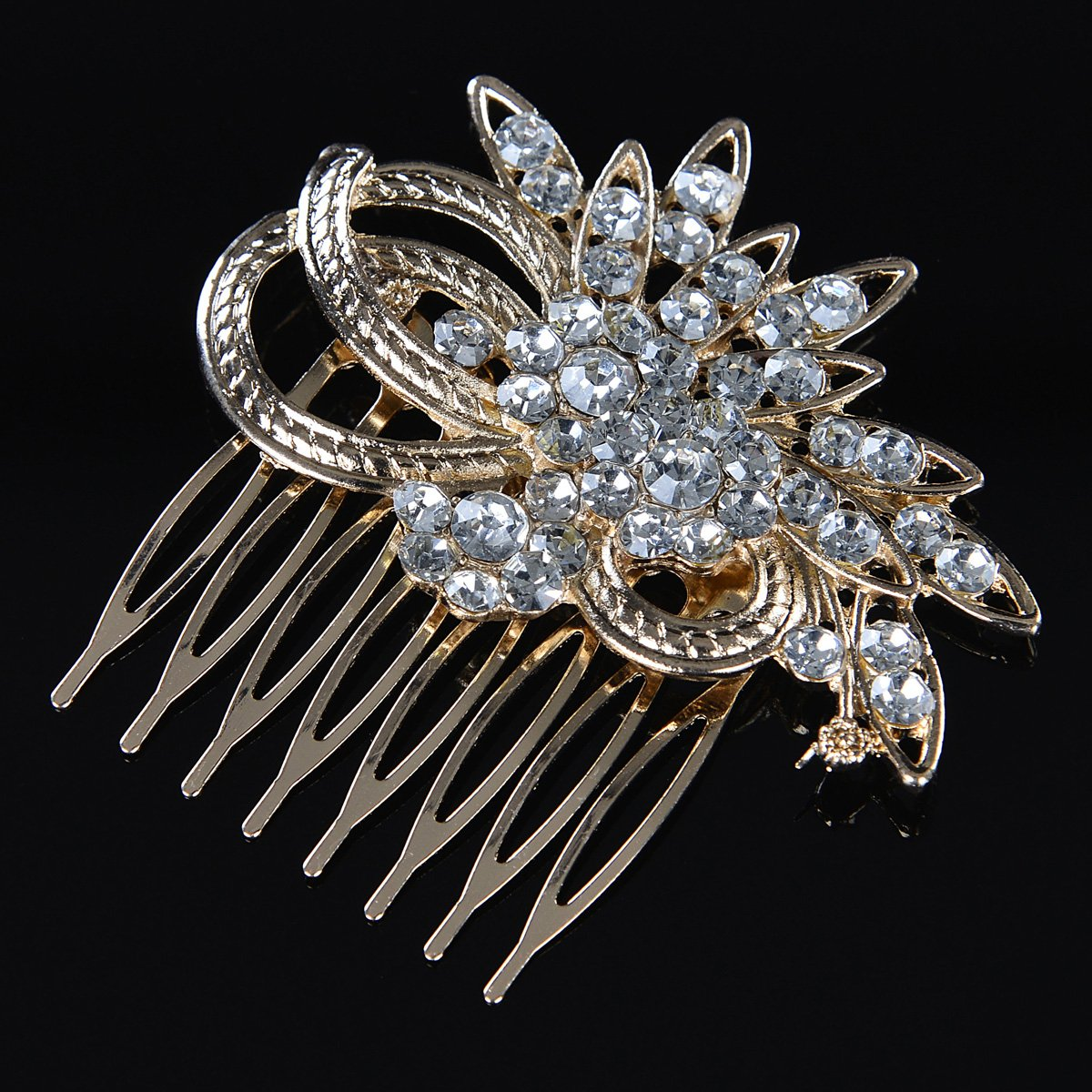 Remedios Vintage Crystal Bridal Hair Comb Wedding Hair Accessory, Light Gold 2