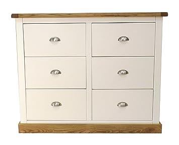 Cabinet Embouts 3Plus Commode 3tiroirs avec poignée chromée/carré Jupe, bois, Blanc